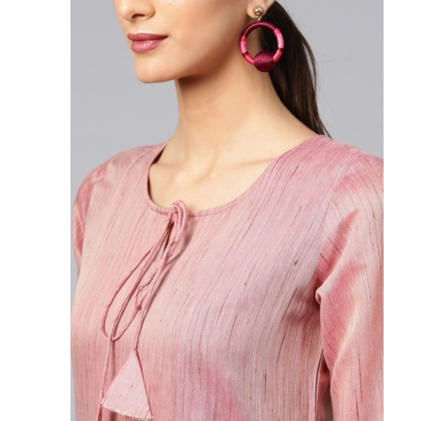 Mauve Solid Chanderi Straight Kurta With Palazzo Set