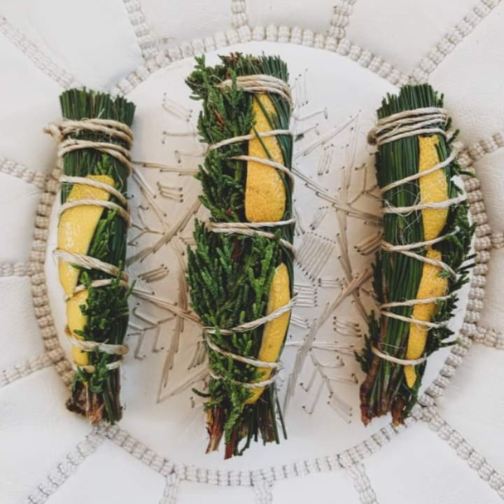 12 Fresh Pine All natural Smudge sticks (lemon peel)