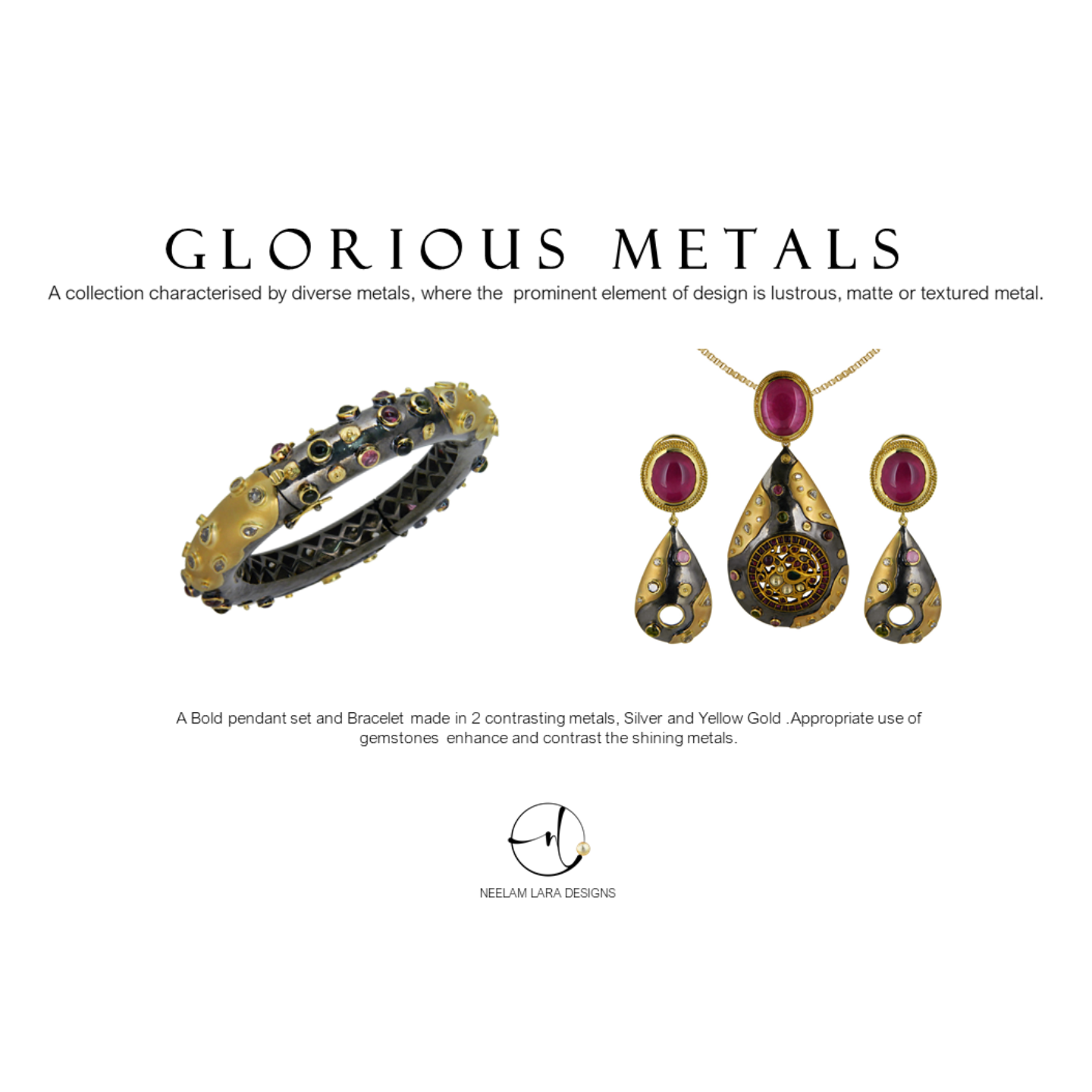 A prominent bold textured Gold and Silver pendant set, studded with colourful gems