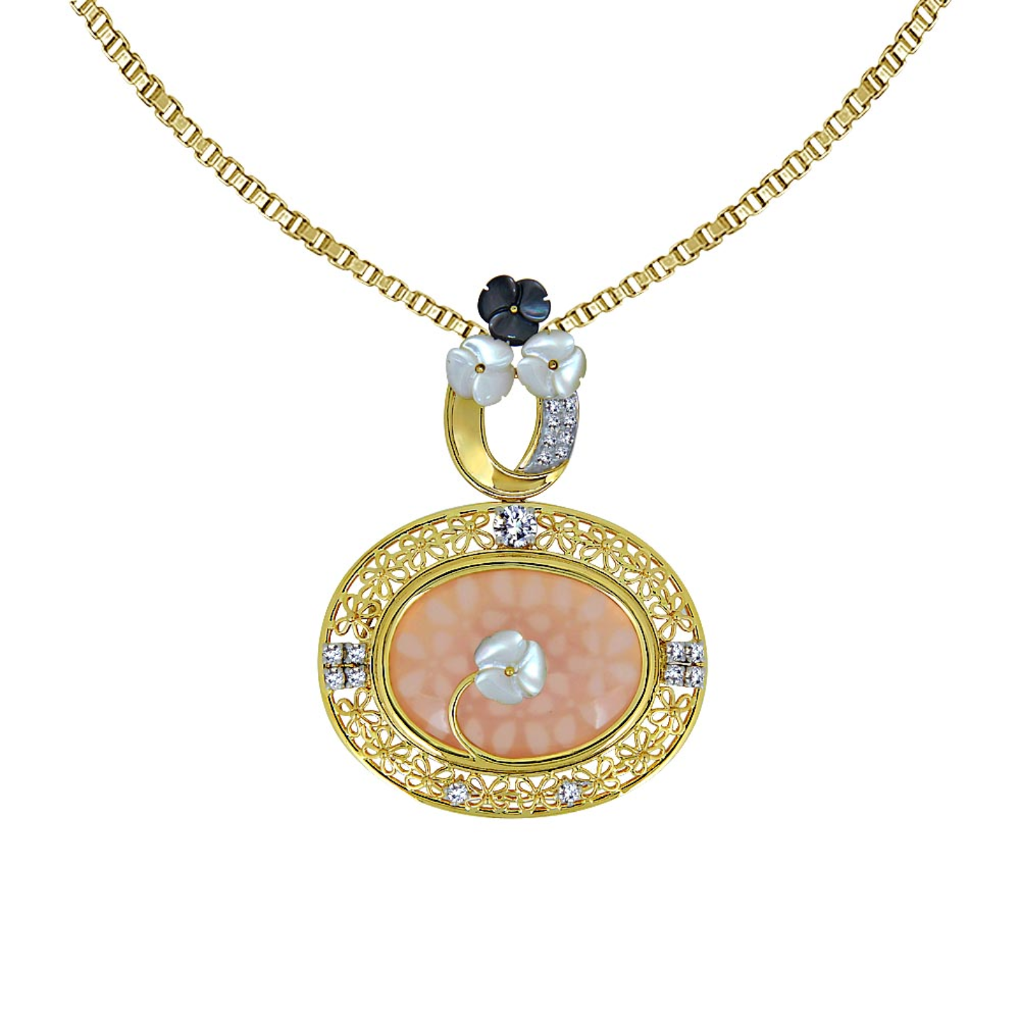 Gold floral filigree pendant with diamonds and mother of pearl flowers, with changeable centre gem