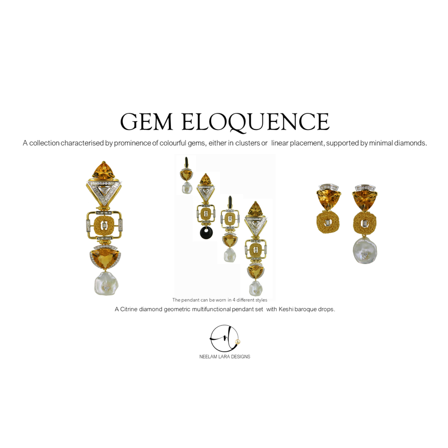 A citrine diamond geometric inspired pendant and earrings, boasting of multifunctional wearability