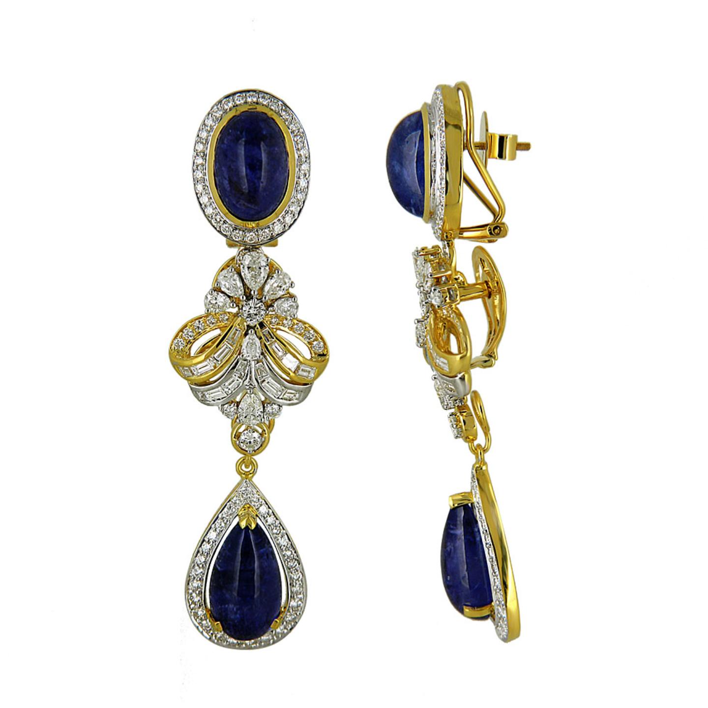 diamond Tanzanite long earrings