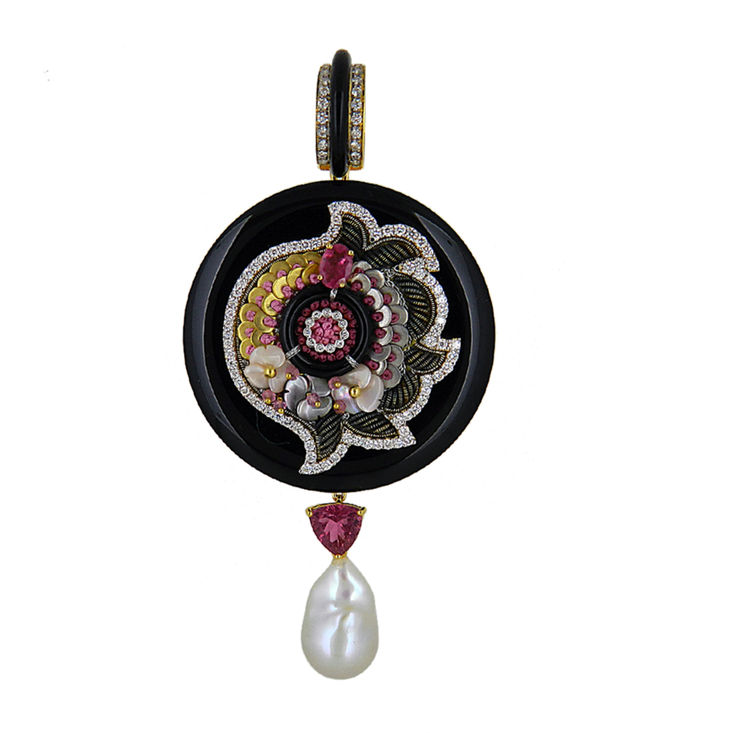 An opulent circular pendant set in pink and black combination crafted using precious gold sequins and wires embellished with gemstones and diamonds