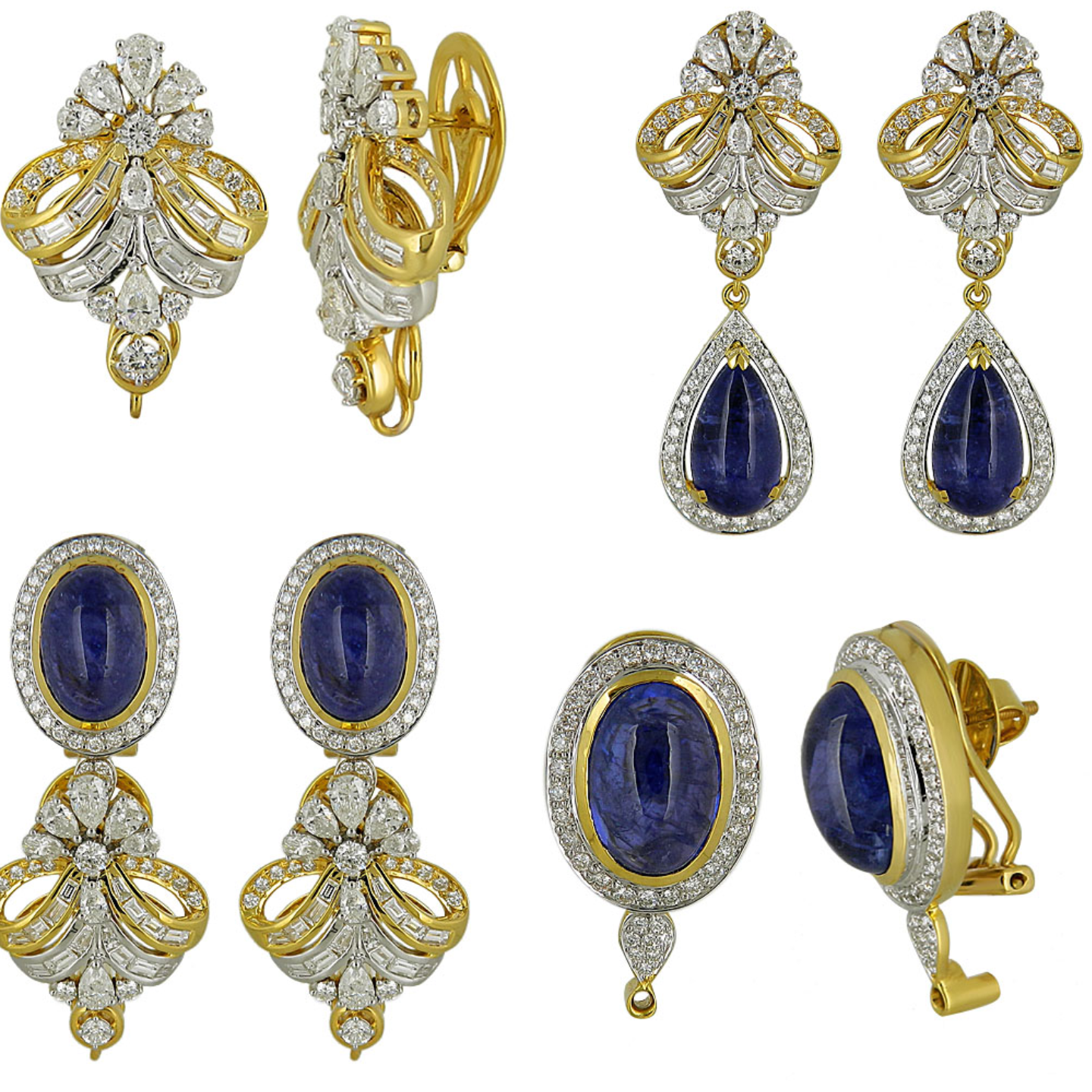 diamond Tanzanite long earrings