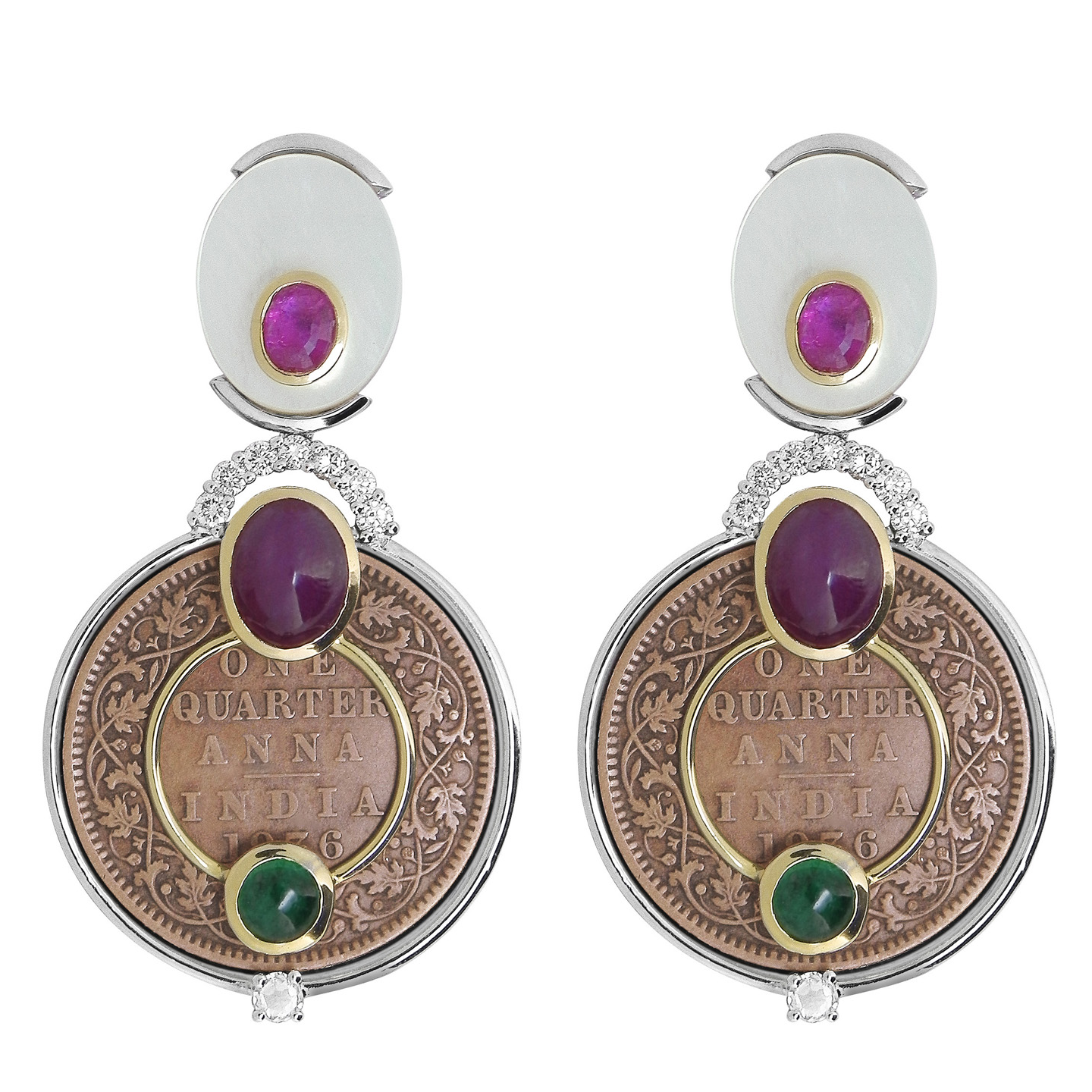 Impressive copper coin earrings in mix metal and gemstones