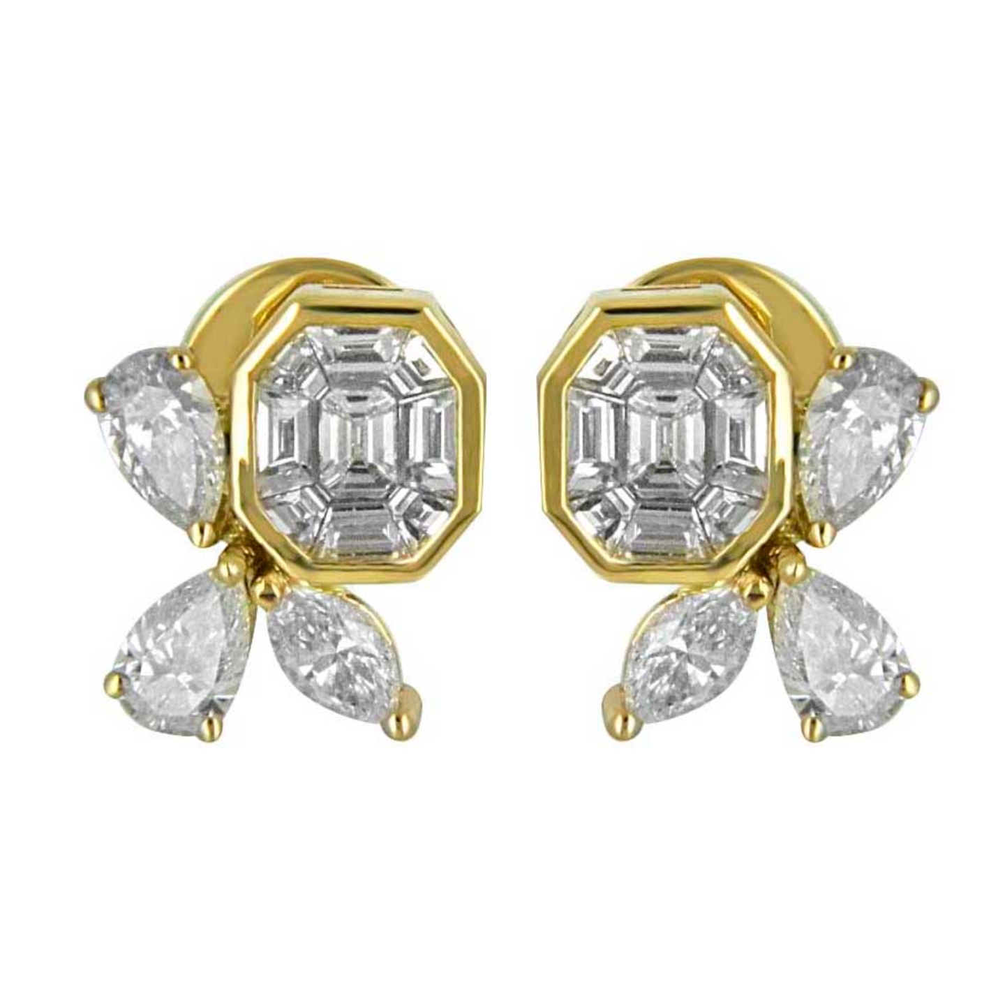Hoop inspired oval shaped diamond gemstone studded earrings and regular wear diamond tops