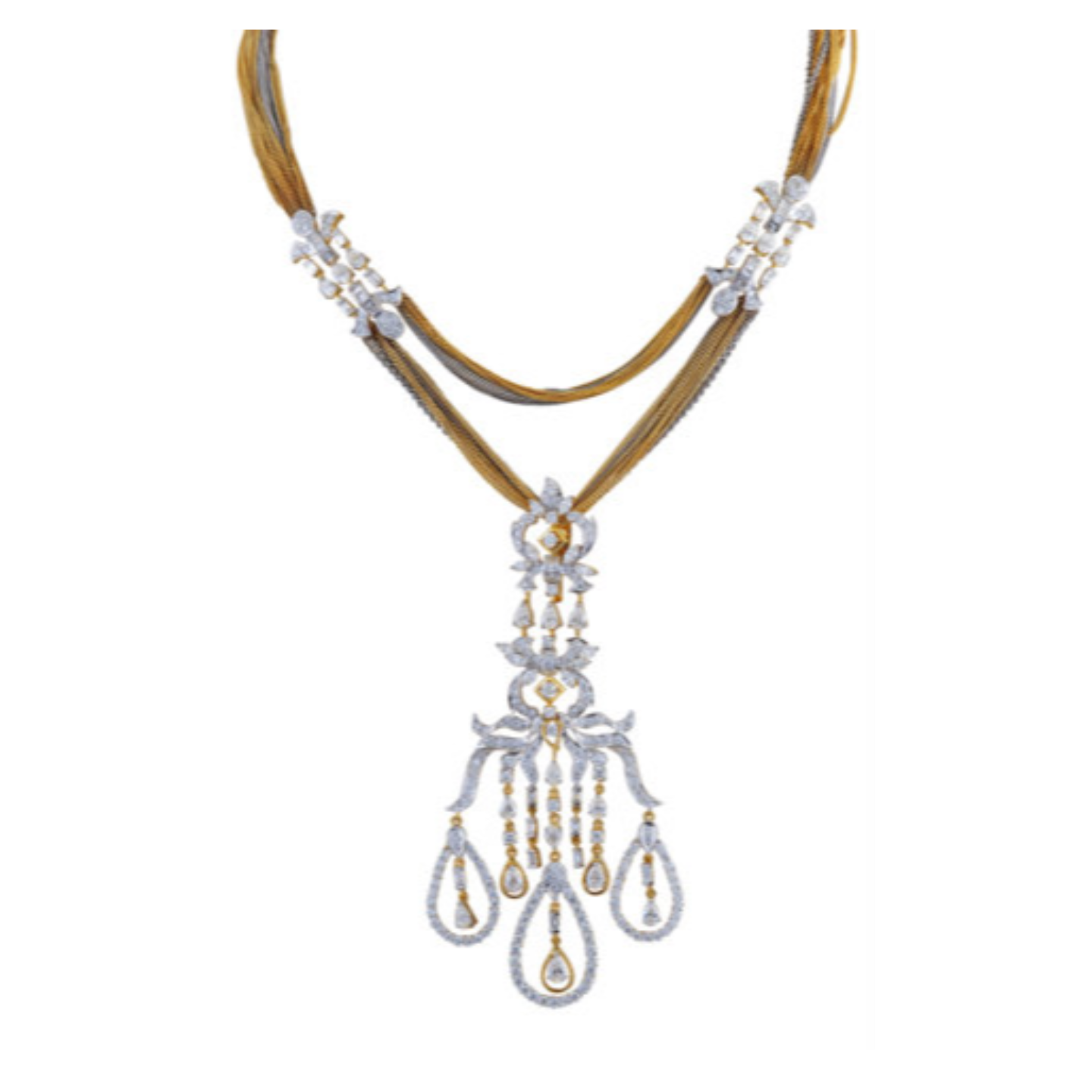 An Elegant yet elaborate diamond pendant necklace in muti hued cluster chains