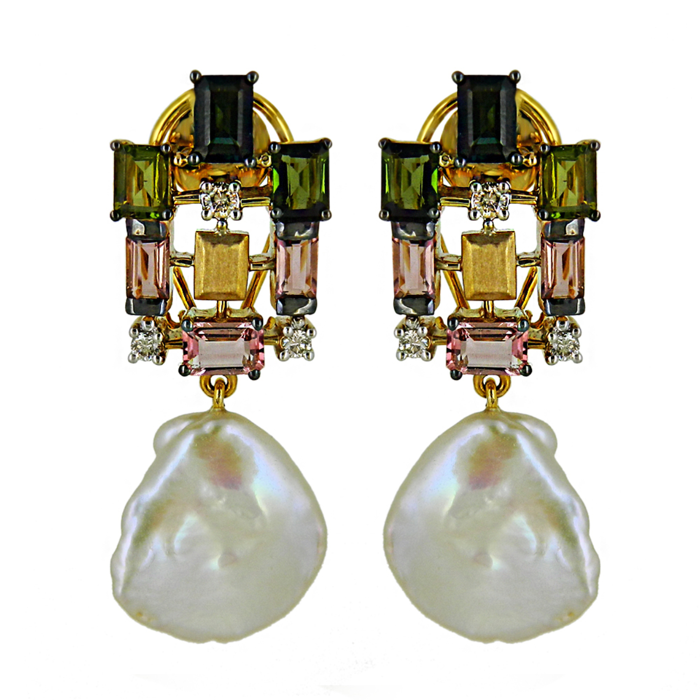 A symmetric multi tourmaline pendant set and matching earrings with Keshi baroque pearl drops