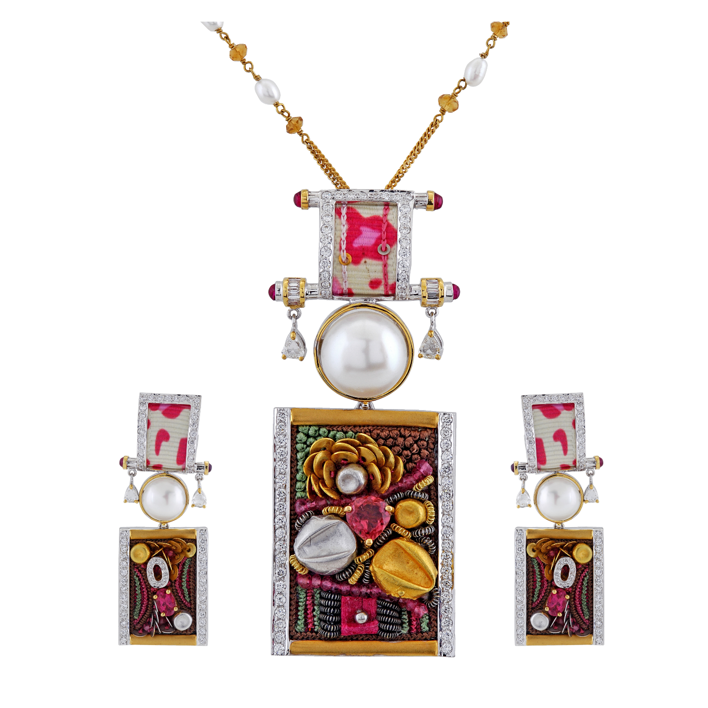 Ornate pendant sets, where clusters of gemstones artistically juxtaposed with gold wires, using the art of embroidery and jewel making