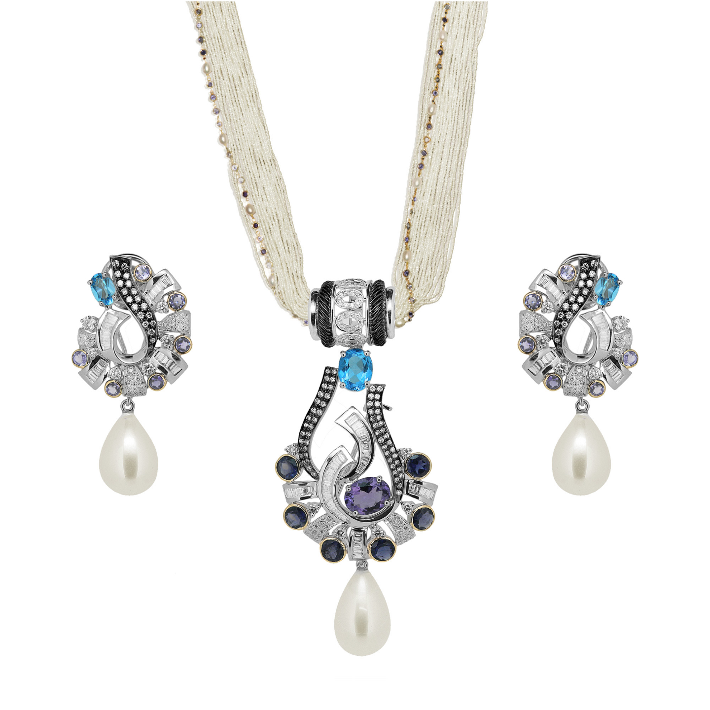A pair of diamond gemstone, multi functional earrings with removable chandelier drops, made by embroidering beads and gold wires on silk