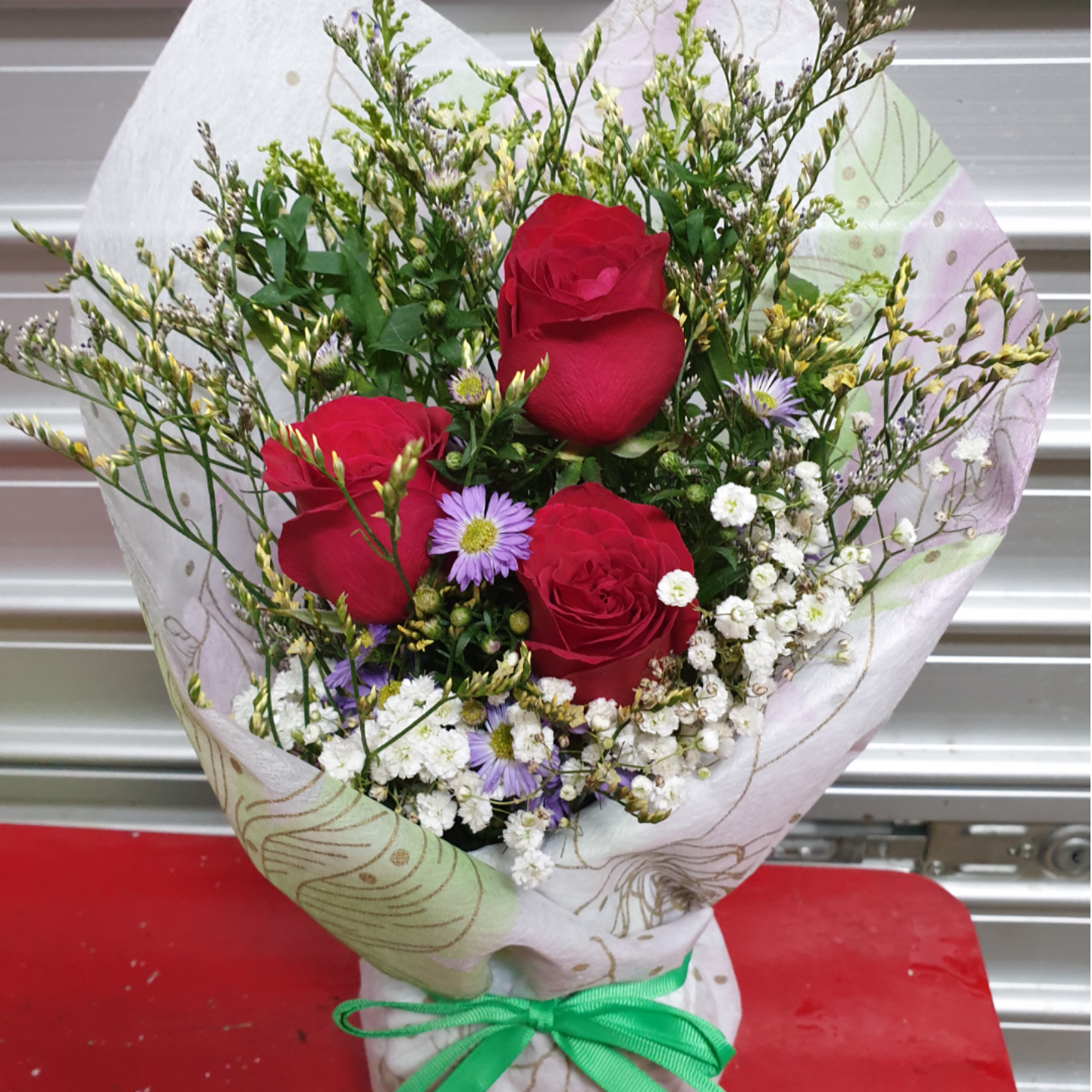 Vflowers 3 Roses Korean Style Bouquet