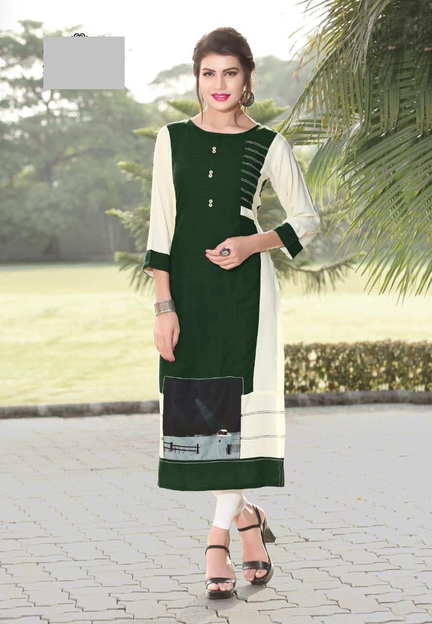 Fasdest Ladies/Women Rayon Designer Straight side-cut Long Kurti /Kurta/Top
