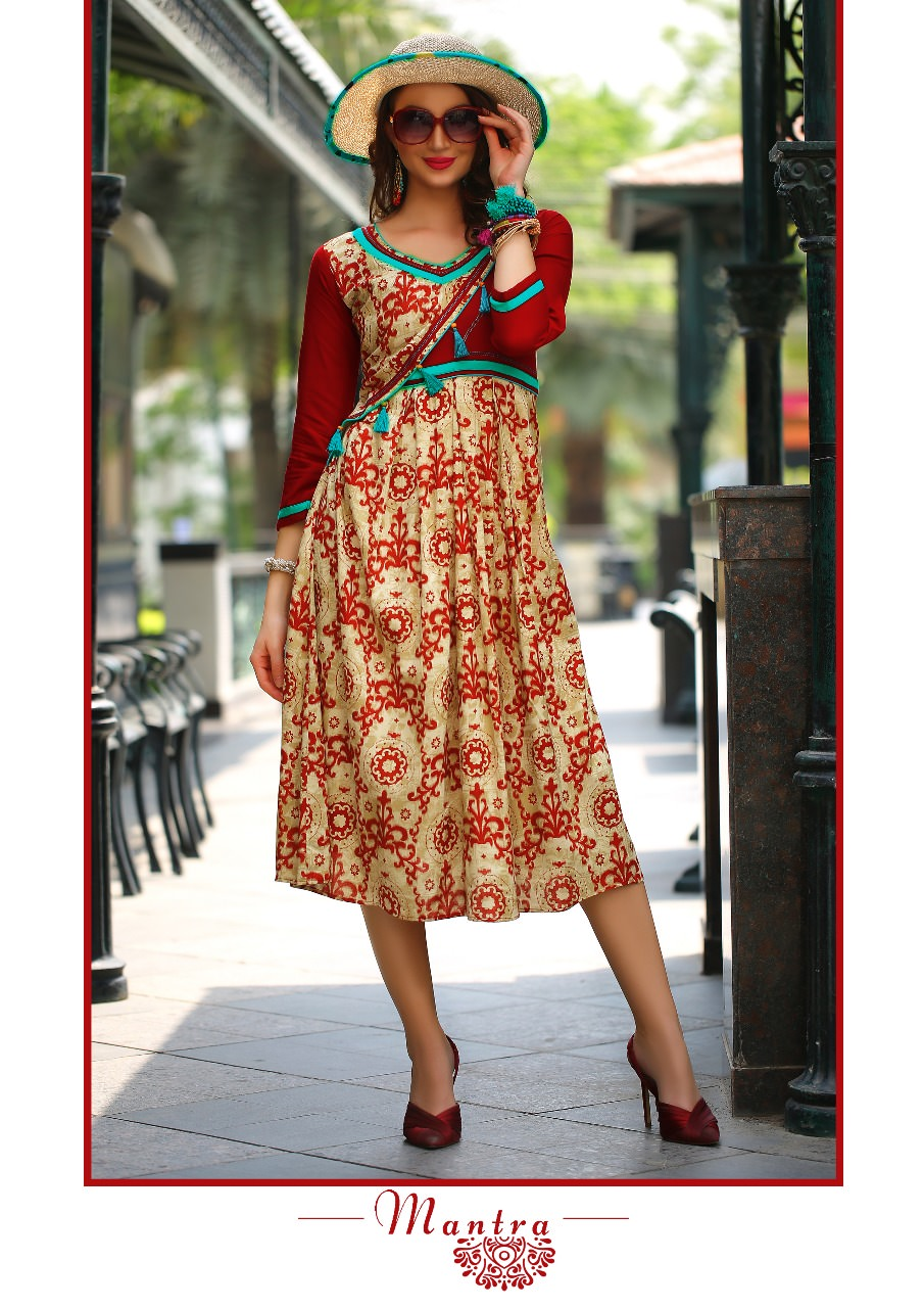 Fasdest Ladies/Women Rayon Designer Rounded Long Kurti /Kurta/Top