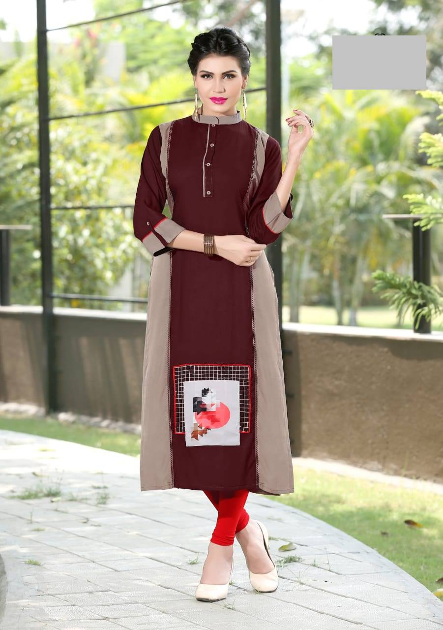 Fasdest Ladies/Women Rayon Designer Straight side-cut Long Kurti /Kurta/Top