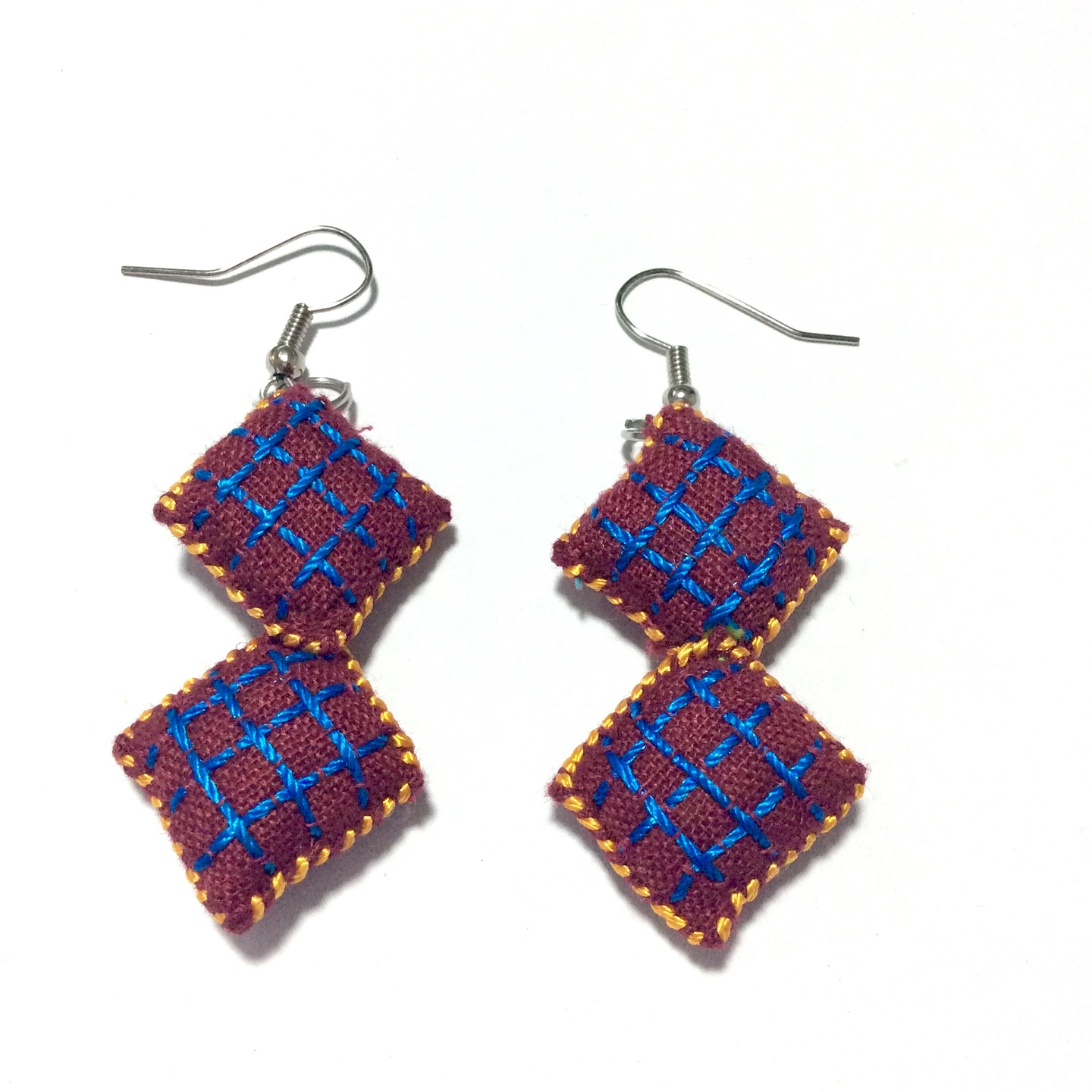 2 Blocks Fabric Embroidered Earrings