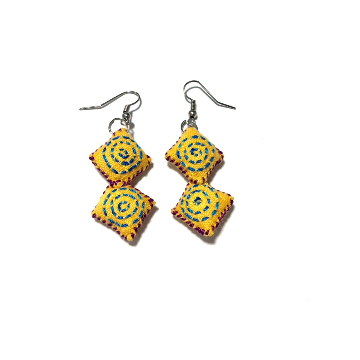 2 Blocks Hand Embroidered Earrings