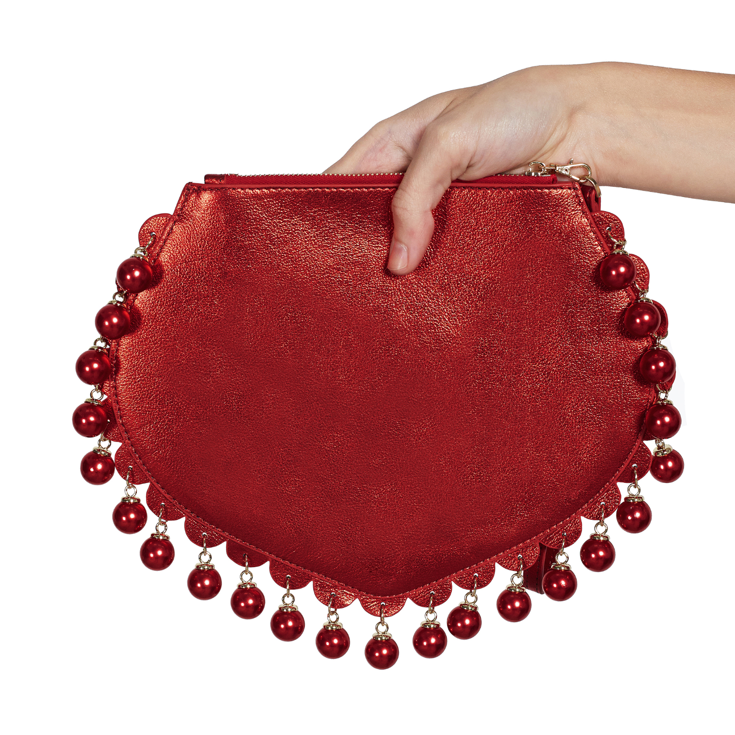 Back view of CHARMAINE sharp red clutch bag with pearls