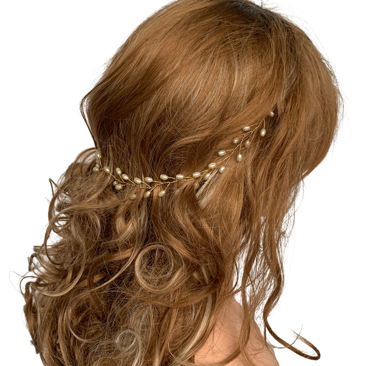 Model wearing VINI modular pearl vine necklace as a hair wreath