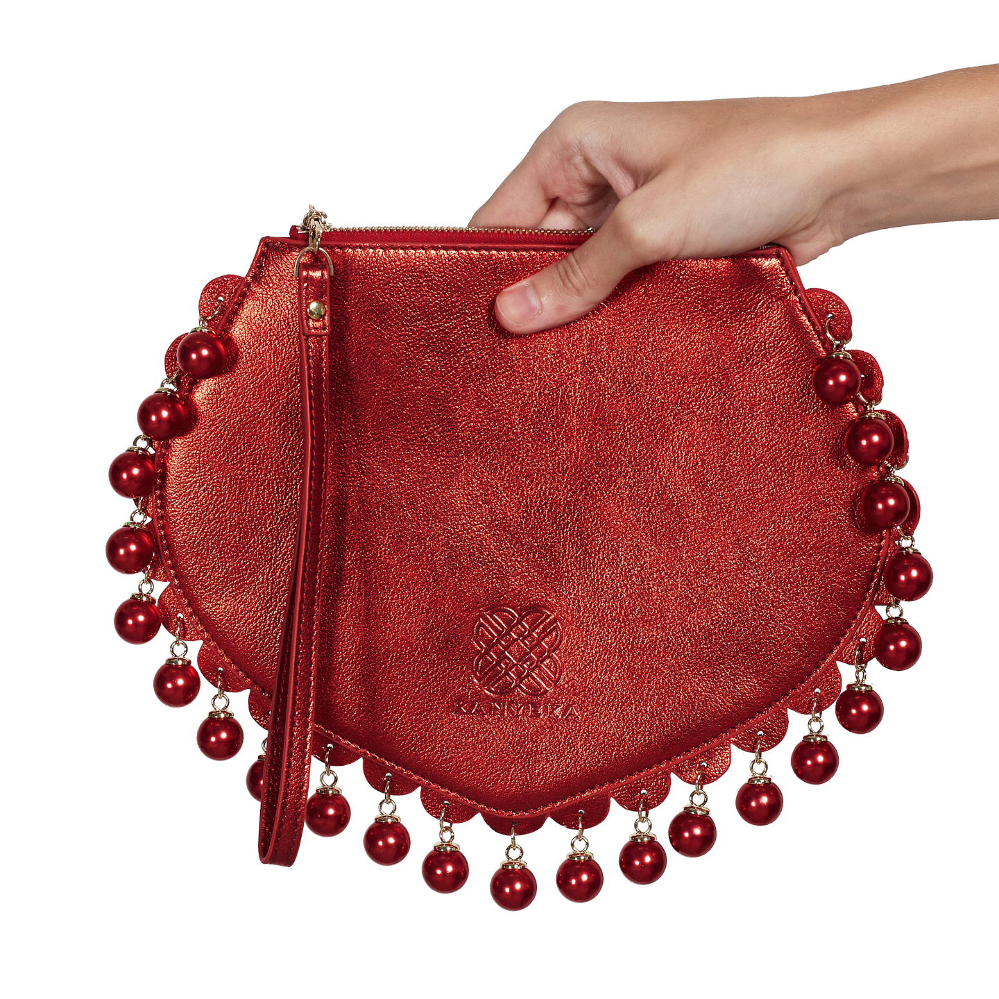 Front view of CHARMAINE sharp red clutch bag with pearls