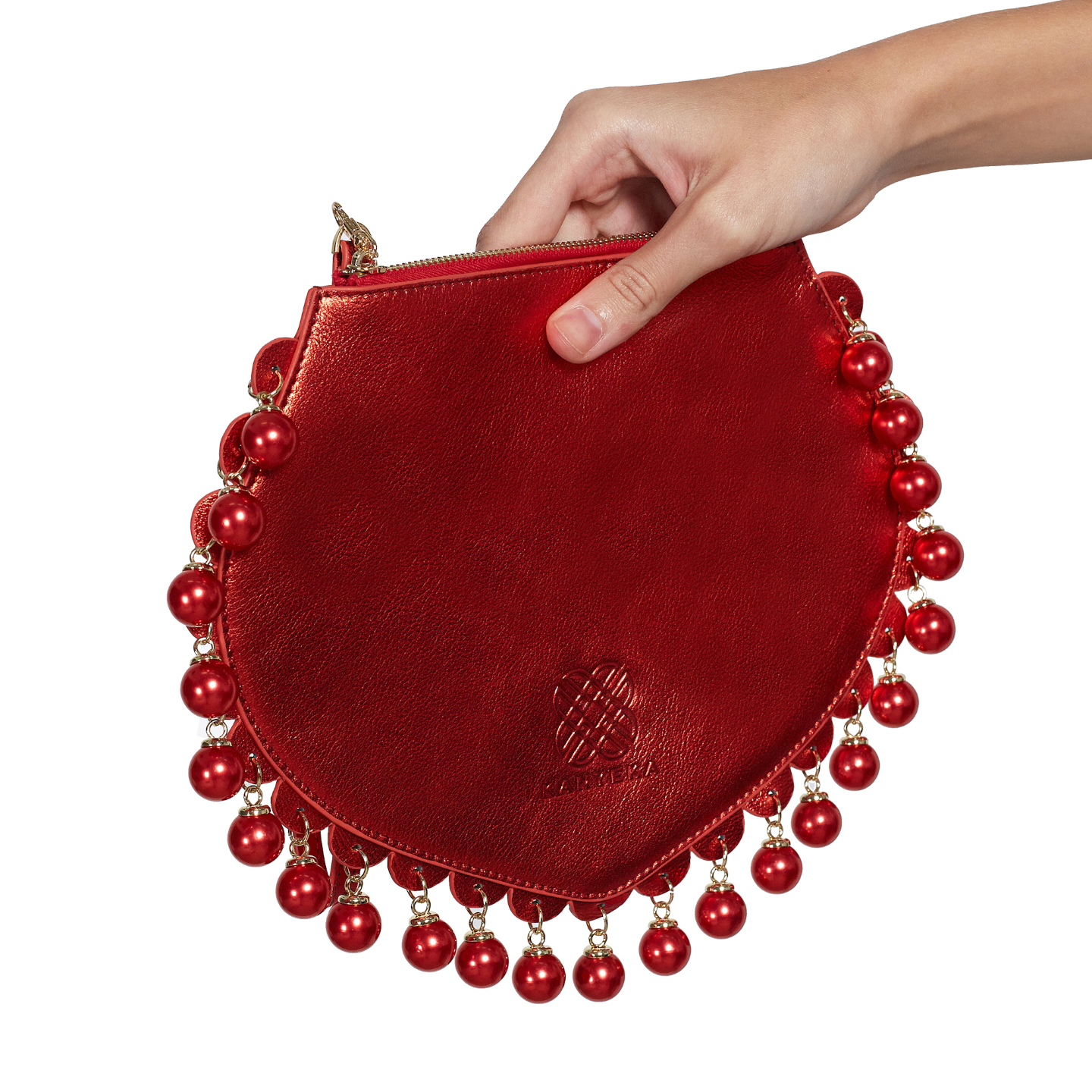 Side view of CHARMAINE sharp red clutch bag with pearls