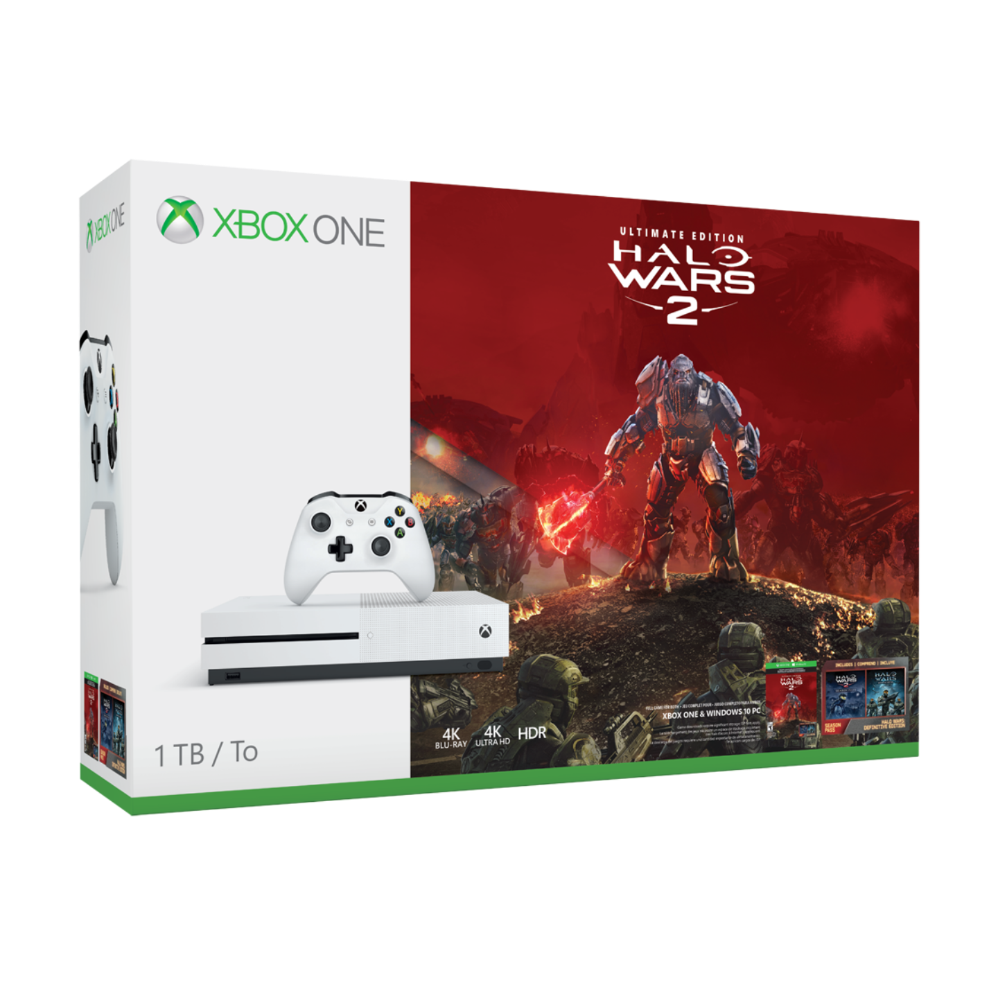 Microsoft XBox One 1TB S Console (Choice of 1 game : Battlefield 1, Forza or Halo Wars 2)