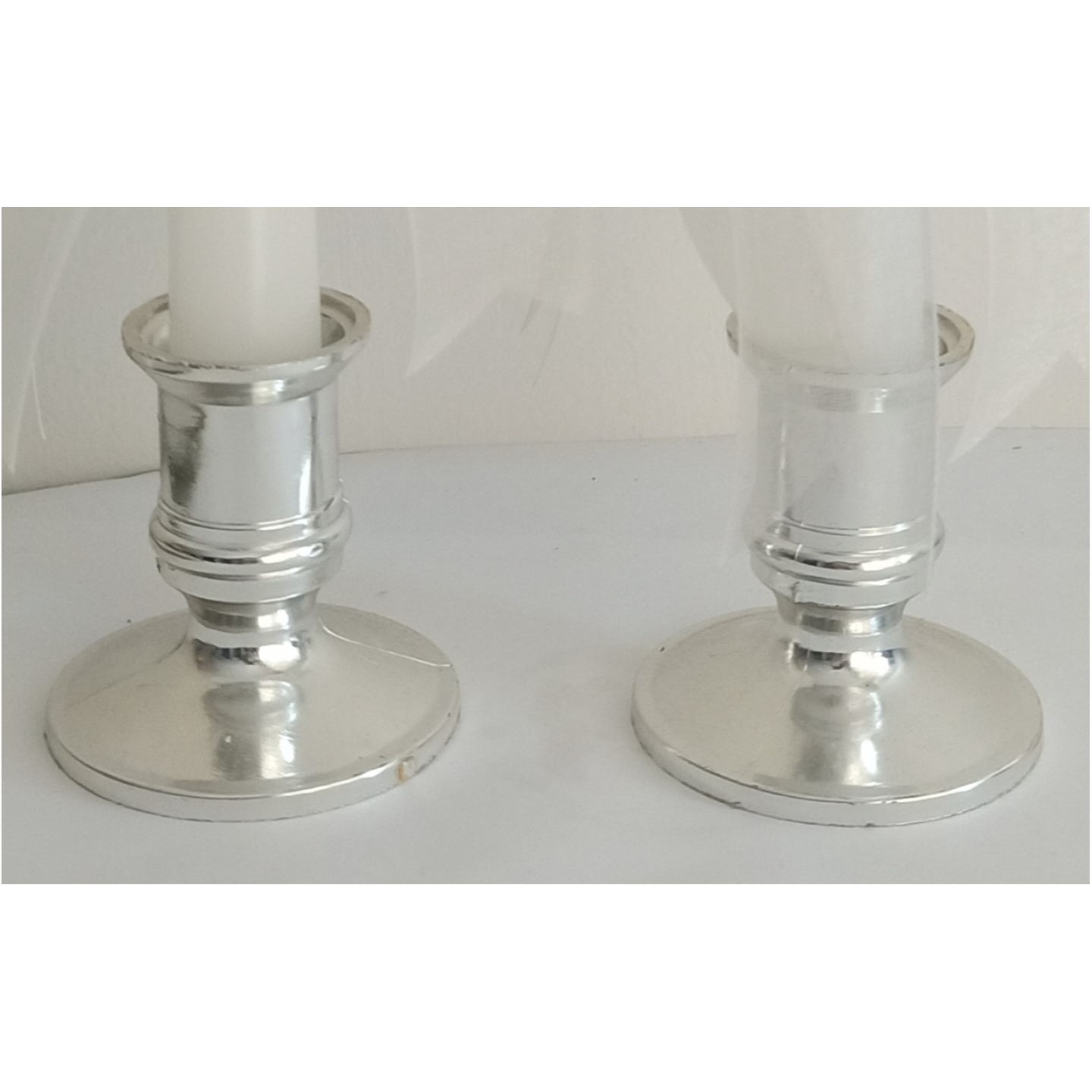 SILVER COLOUR PLASTIC CANDLE HOLDERS