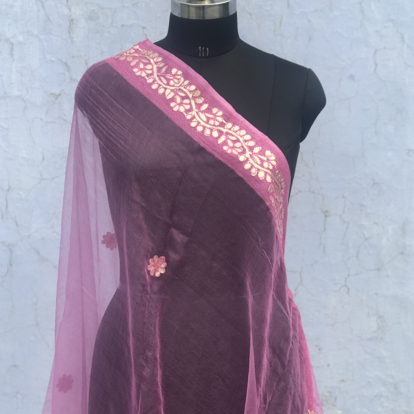 Pink Organza Dupatta with Gota Patti