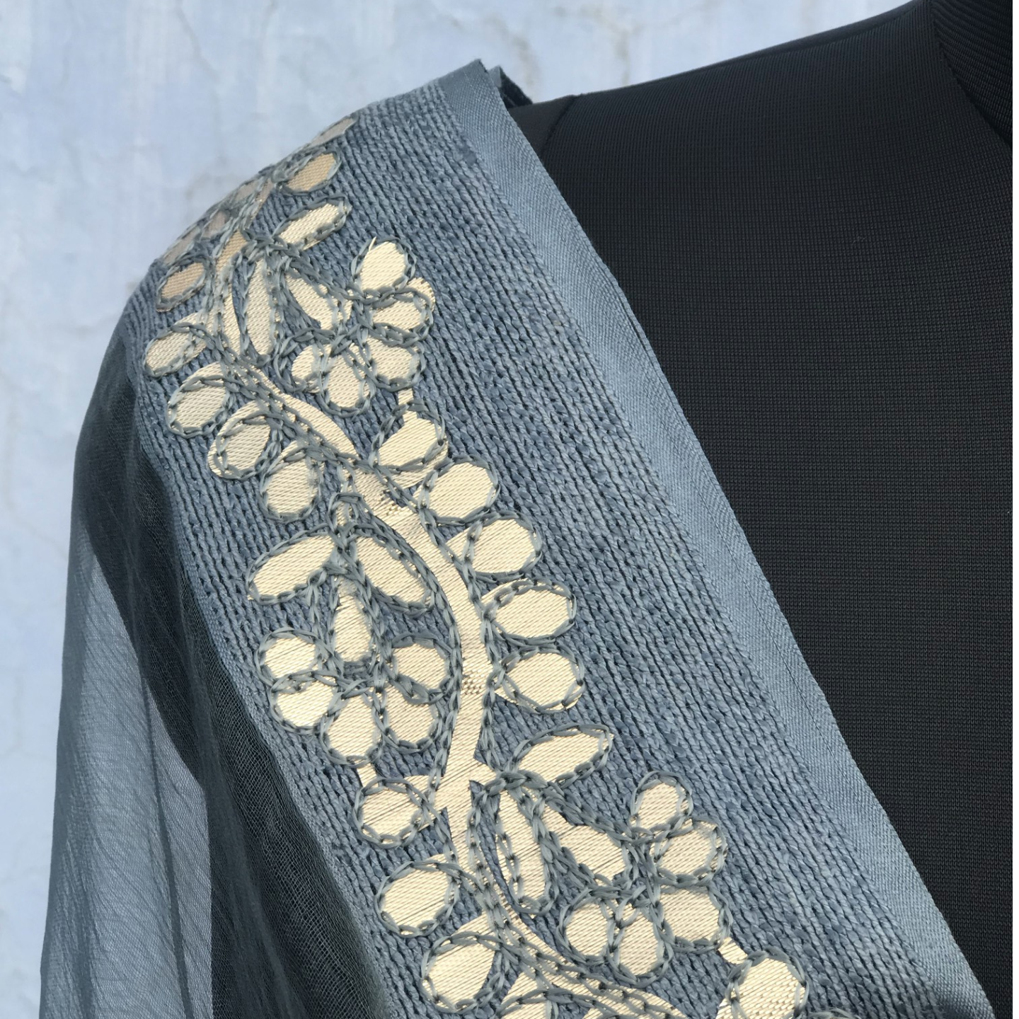 Grey Organza Dupatta With Gota Patti Border