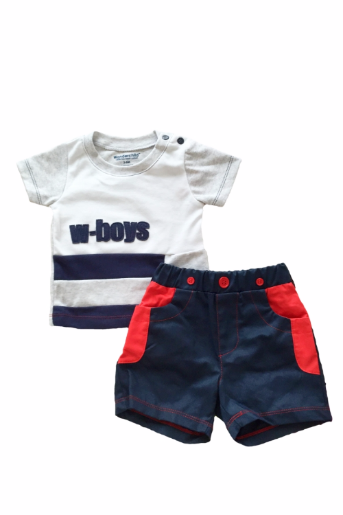 Baby Boy T shirt & shorts set ( White & Blue)