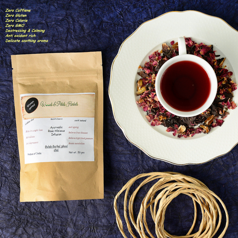 Ayurvedic Rose Hibiscus Tea ( Gulab Gudhal phool chai ) I Weight Loss I Anti Aging I Calming I Relaxing