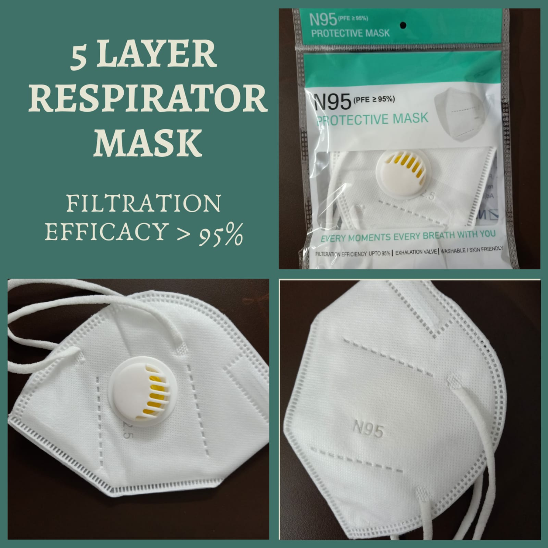 5 Layer Respirator Face Mask  (KN95) - Set of 5