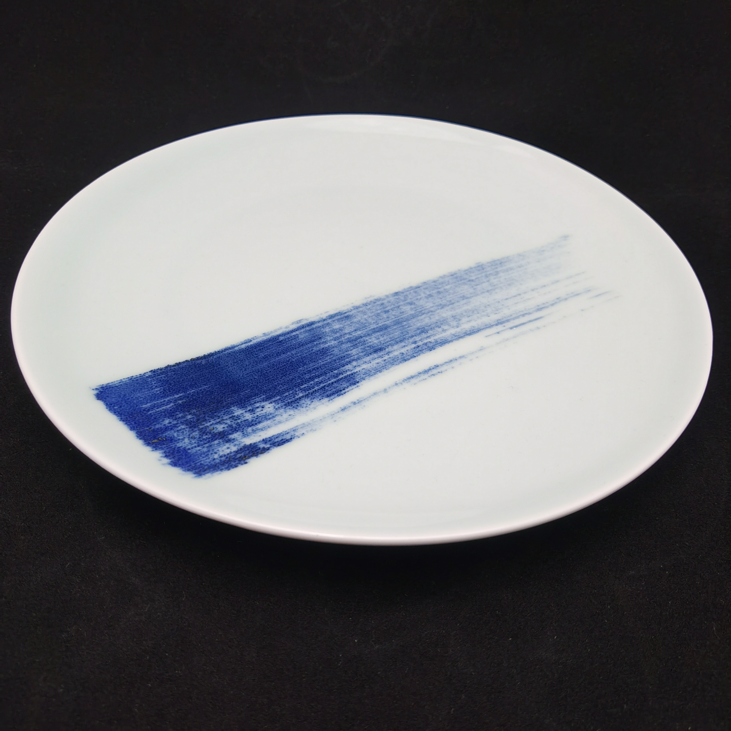 China Blue Brush Stroke Round Plate - (330mm)