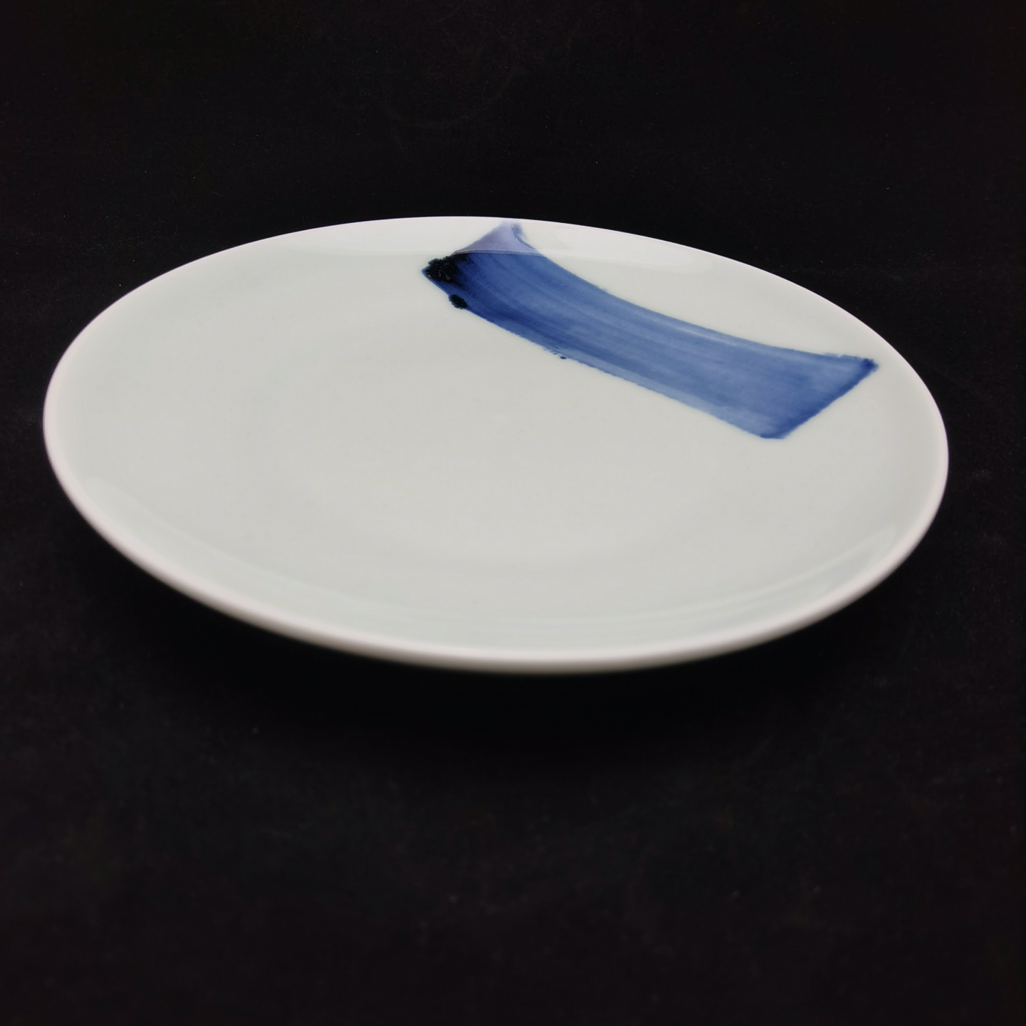 China Blue Brush Stroke Round Plate - (210mm)