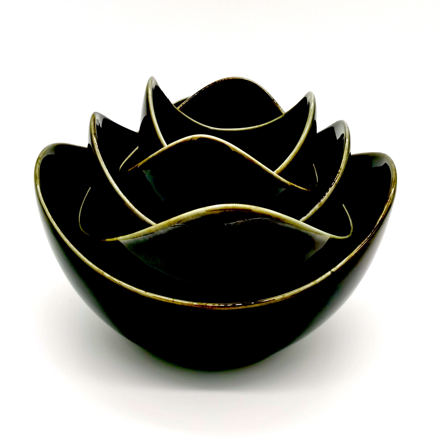 Black Glaze Lotus Bowl Set