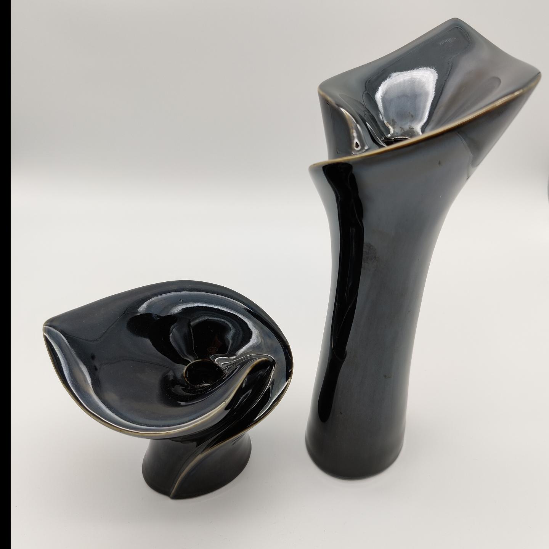 Black Glaze Calla Candle Stands-Tall