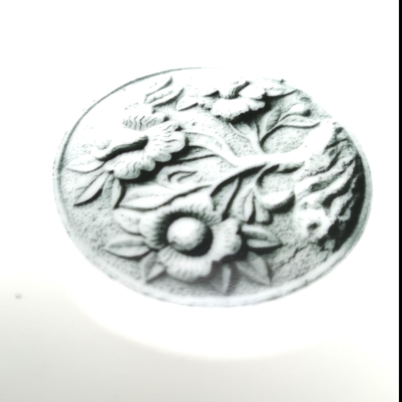 Stone Carved Flower Dessert PlateBowl Set - M 27cm Round Deep Plate Set of 4 pcs