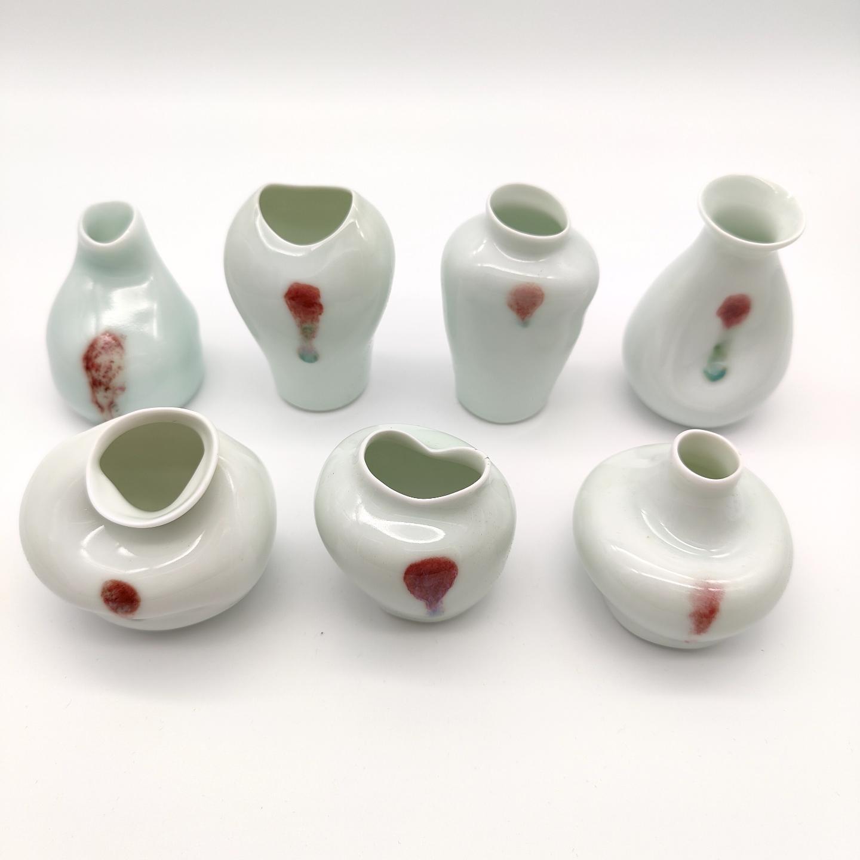 Underglazed Red Seven Fortunes Vase Set