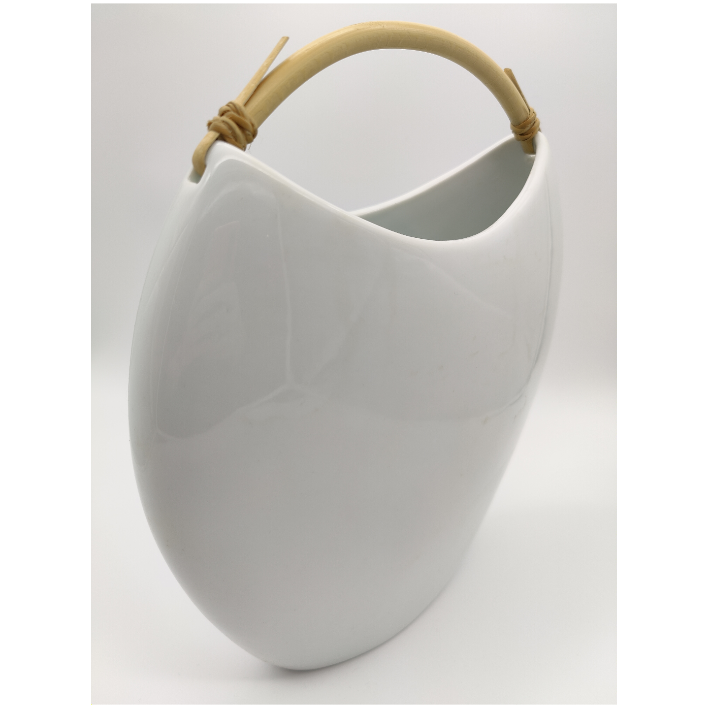 Green White Shoulder Bag Vase