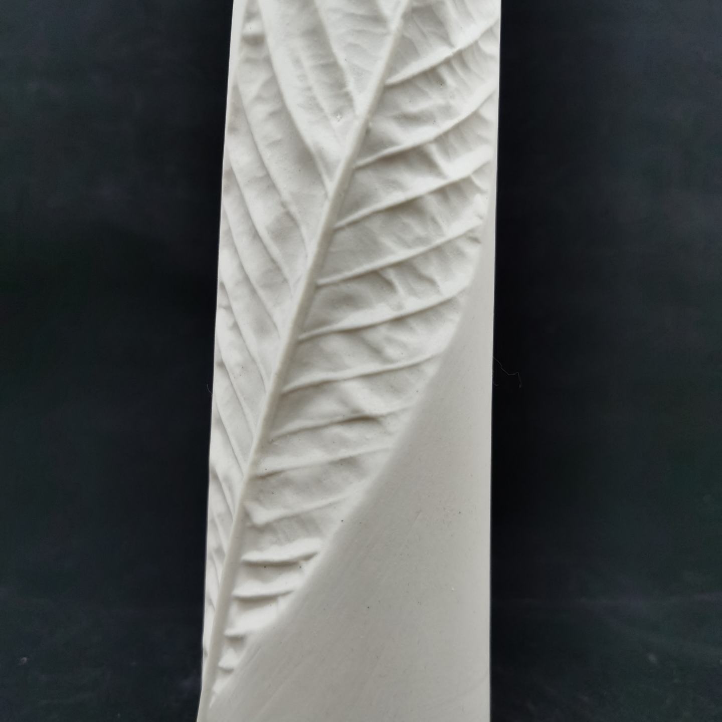 White Biscuit Pipa Leaf Vases - Small