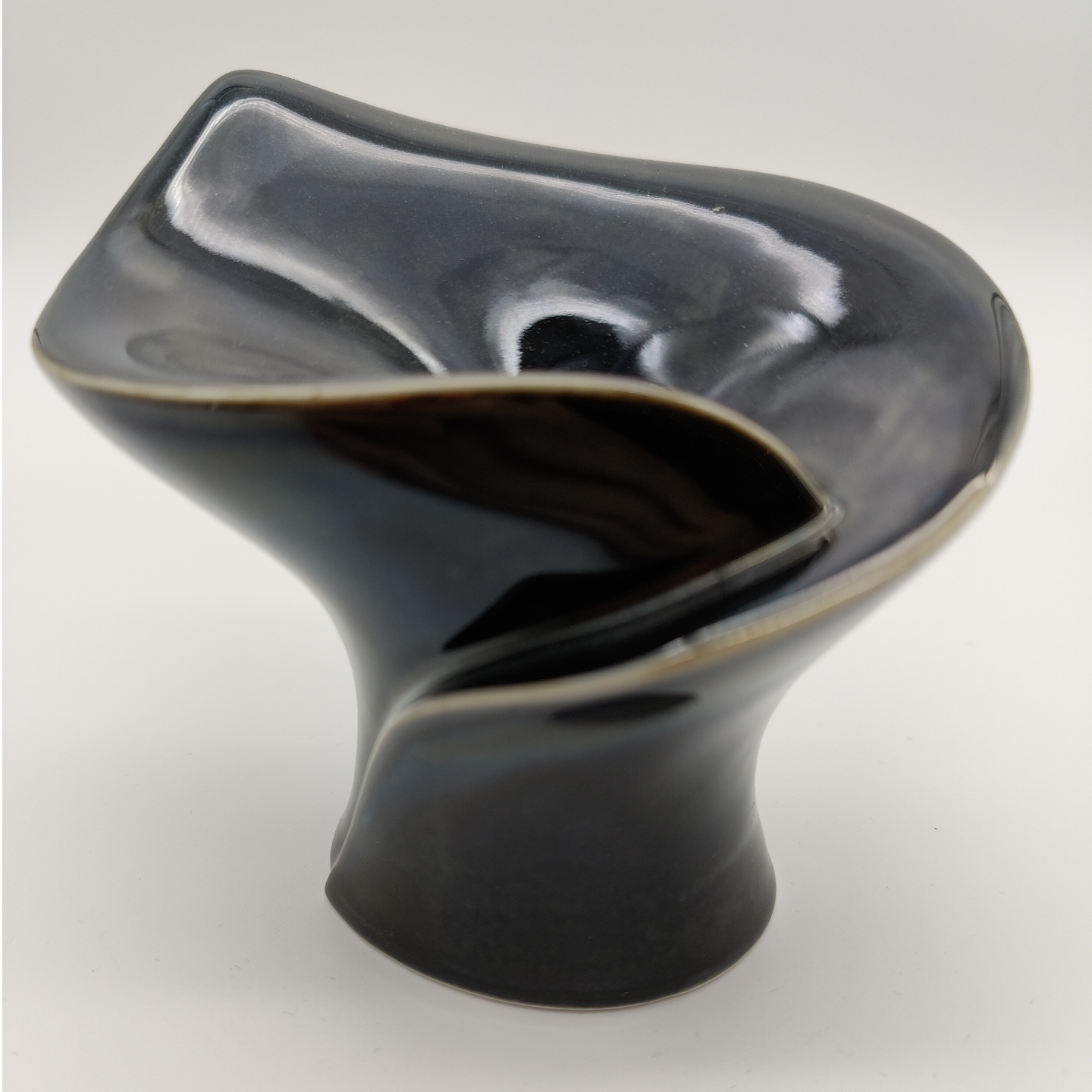 Black Glaze Calla Candle Stands-Short