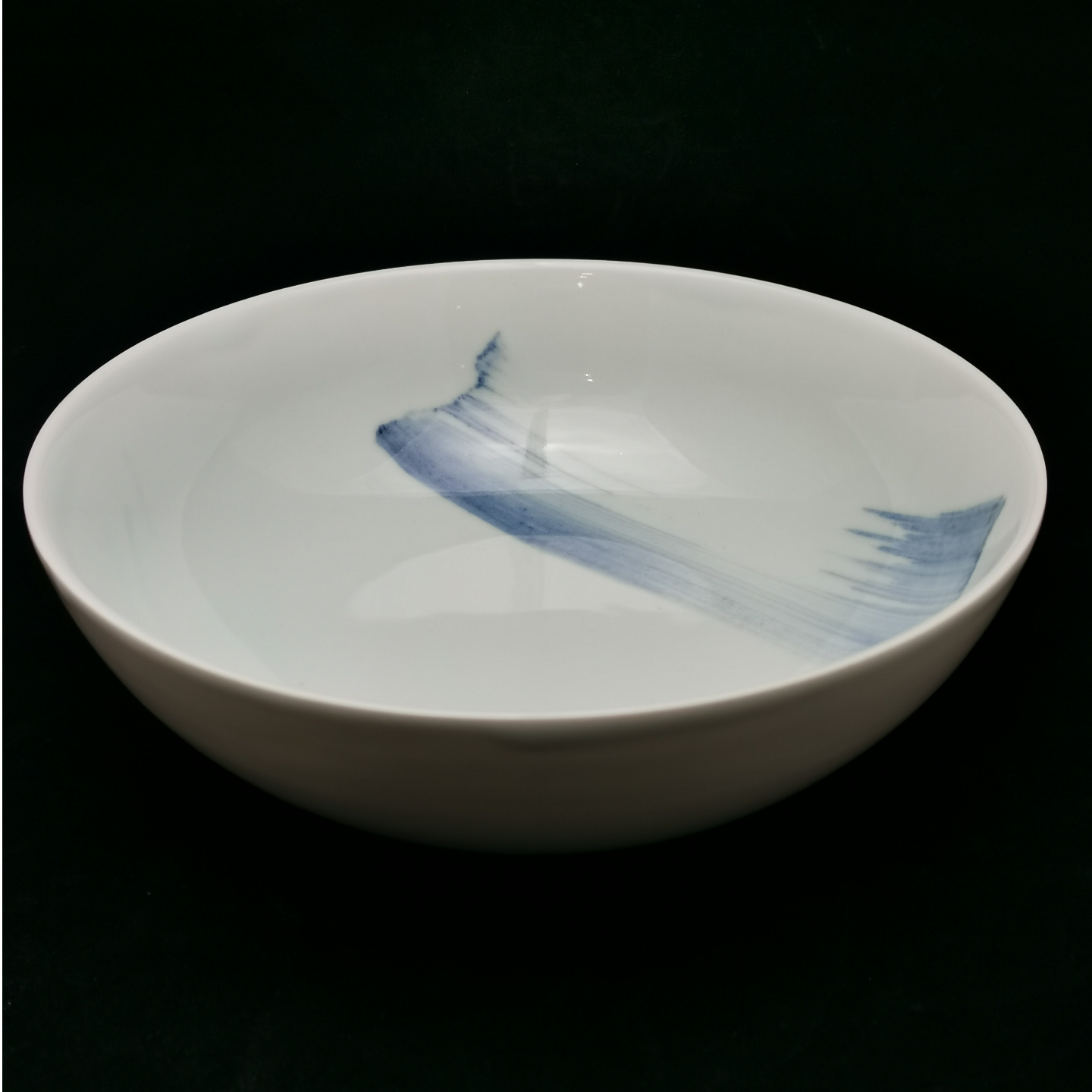 China Blue Brush Stroke Footless Bowl 260mm