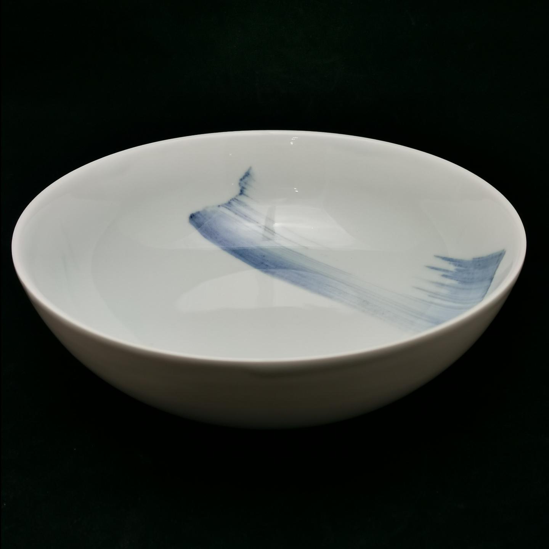 China Blue Brush Stroke Footless Bowl 260mm
