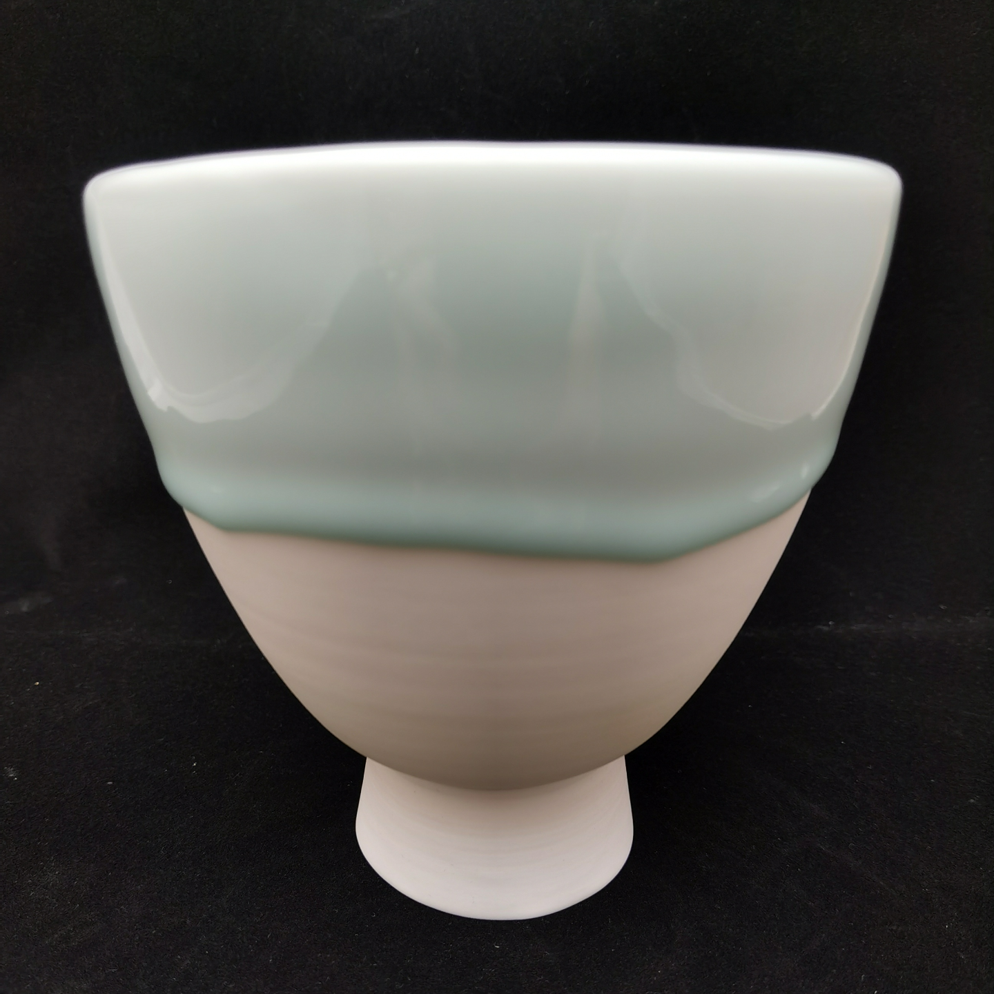 Green White Melting Snow Series - Tall Bowl