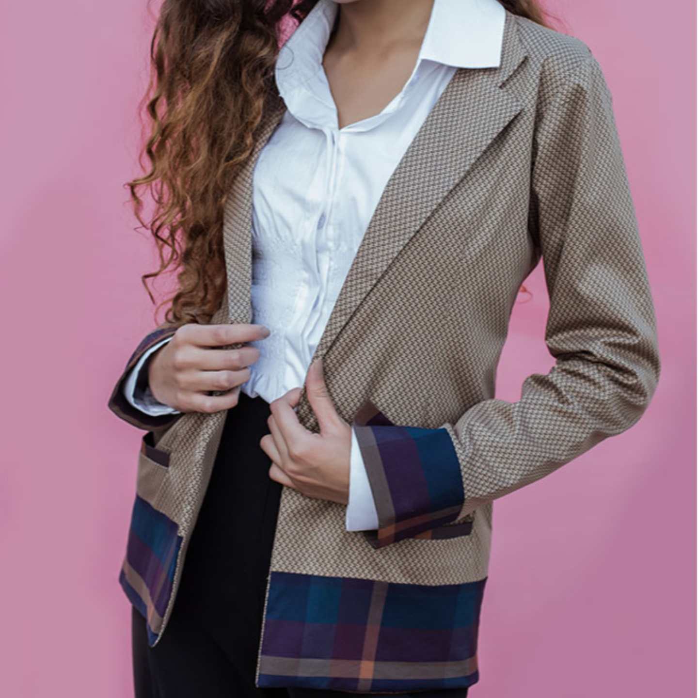 Brown and Purple Casual Blazer