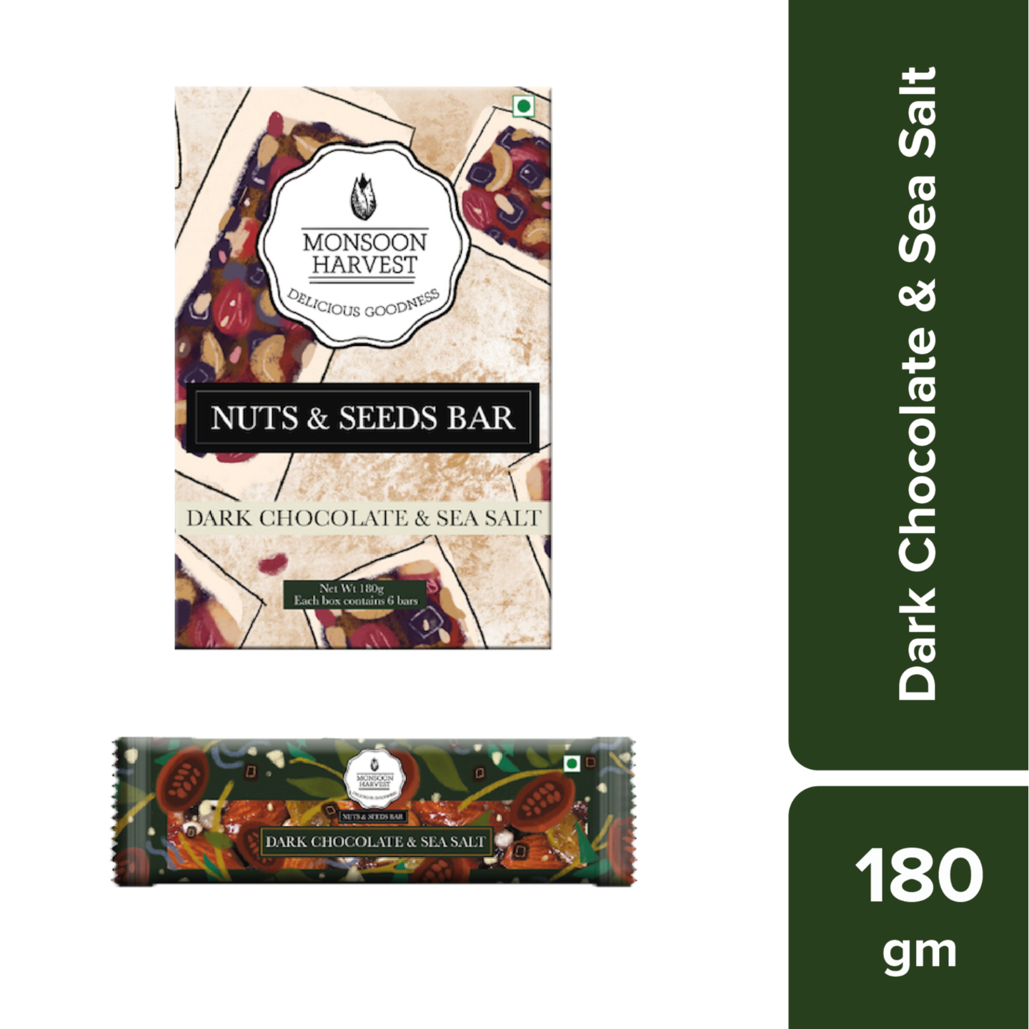 Nuts & Seeds Bars - Dark Chocolate & Sea Salt (Pack of 6)