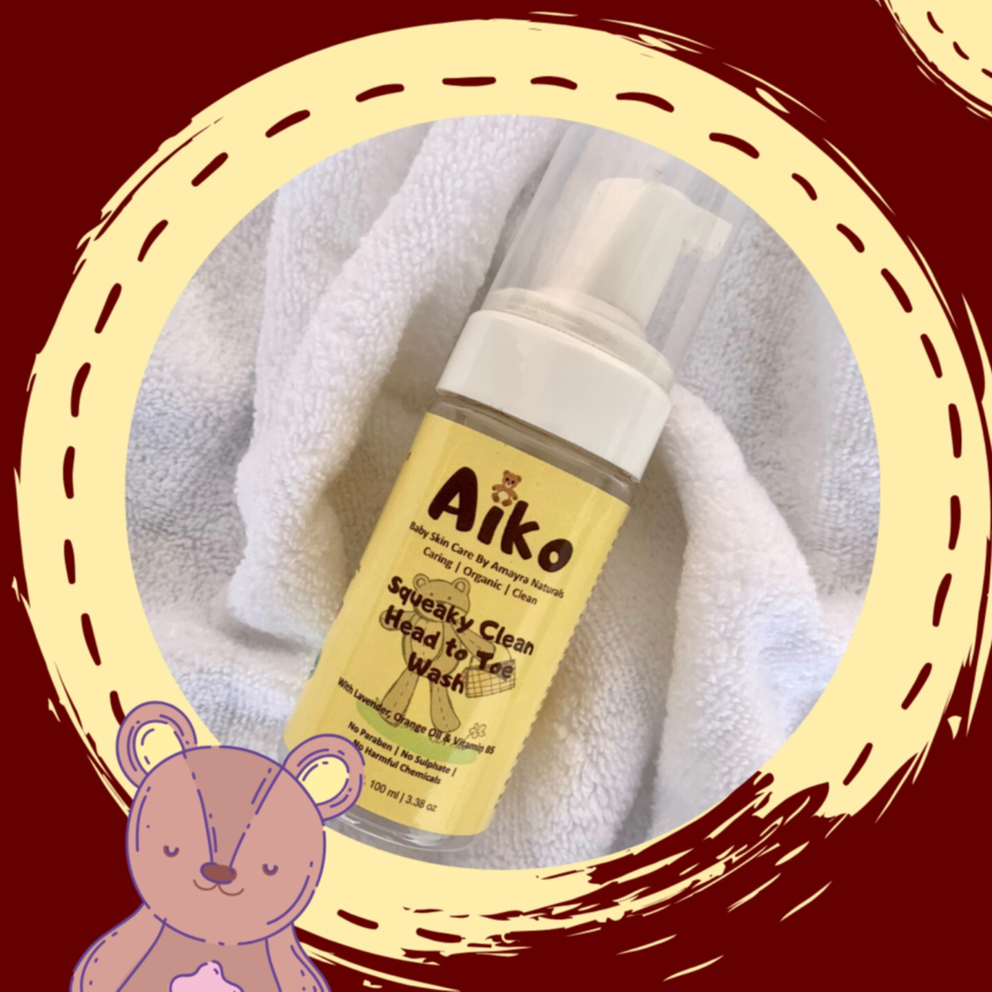 Amayra Naturals Aiko Squeaky Clean Head to Toe Wash