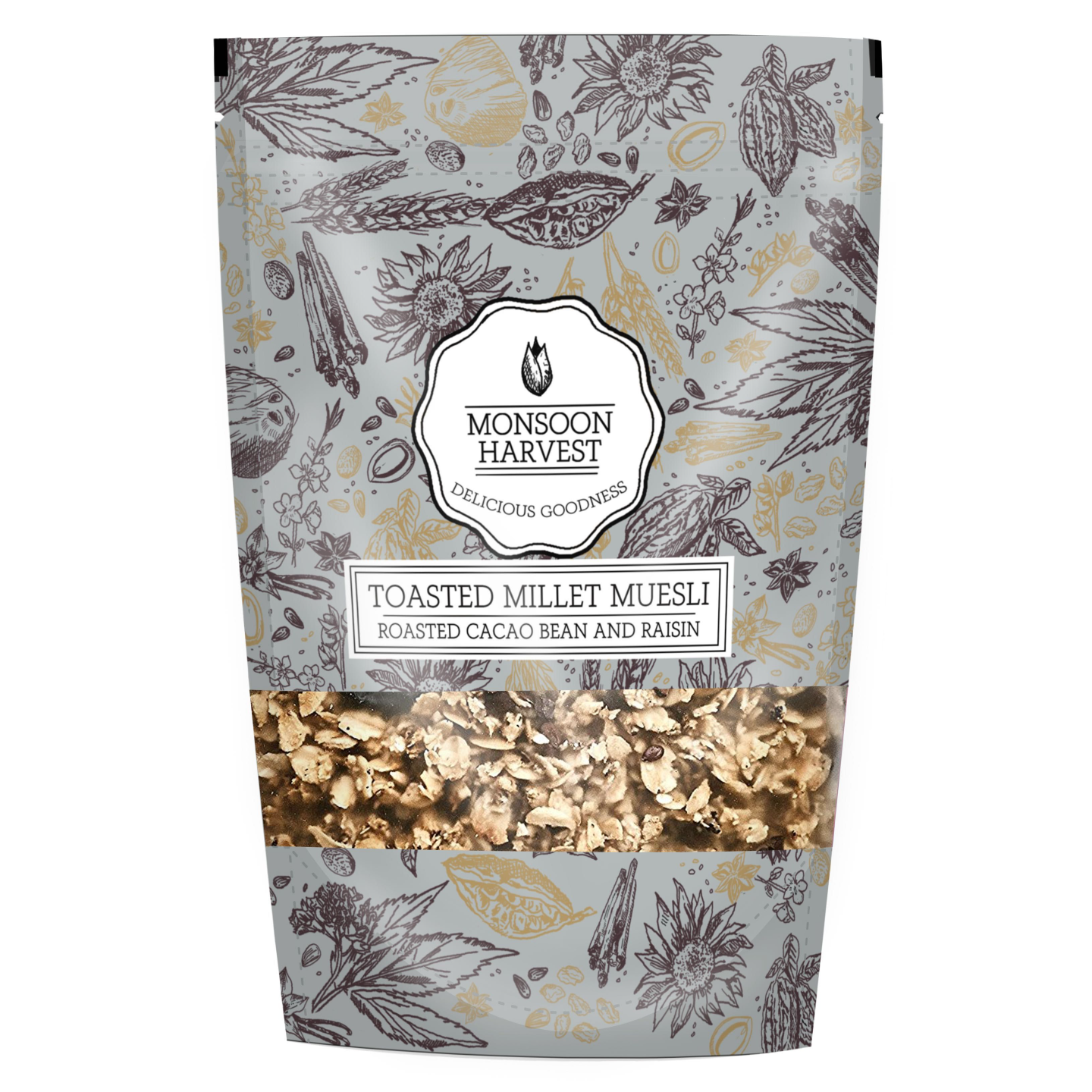 Toasted Millet Muesli Roasted Cacao Bean and Raisin