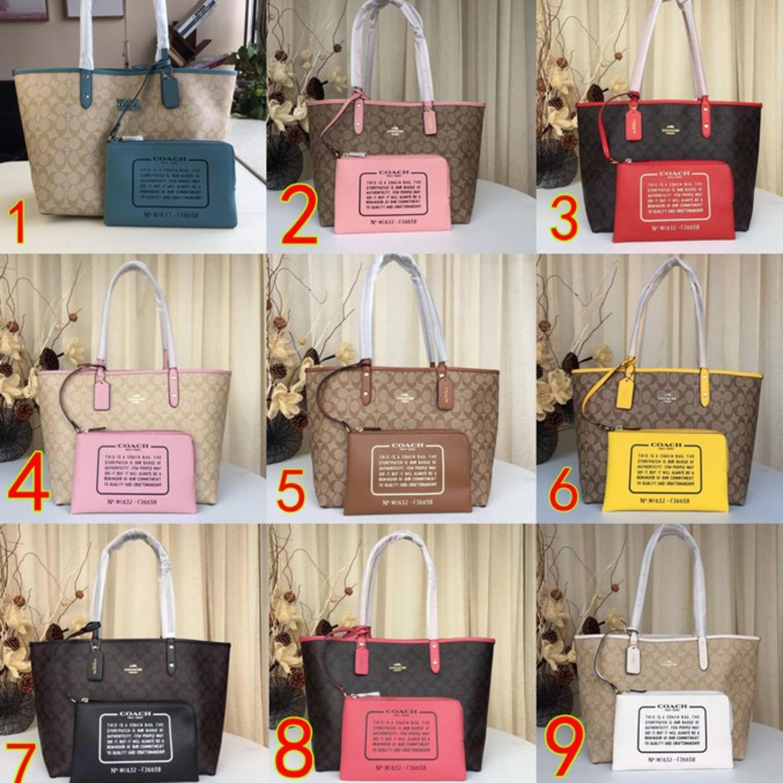 (SG COD) Coach Women's Bags shopping bag F36658C pattern leather handbag shoulder bag