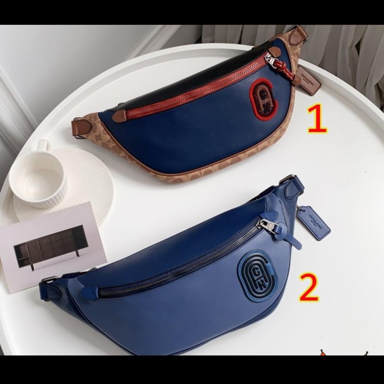 (SG COD)  Men's waist Coach bag F89079 F91375 waist bag chest bag leather bag crossbody bag