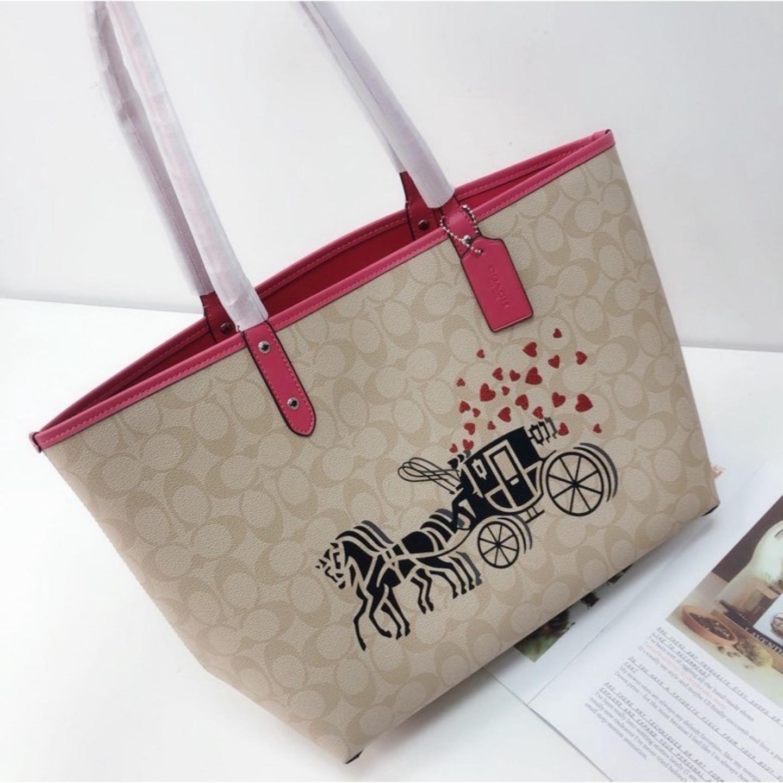(SG COD) Ladies Coach   Bag / F91011 / Shopping Bag / Double Bread / Handbag / Shoulder Bag